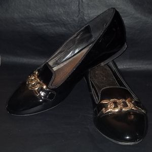WOMEN'S PATENT LEATHER LOAFERS W/GOLD ACCENTS